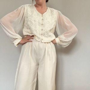 Vintage 80s formal white wide leg jumpsuit Sz L